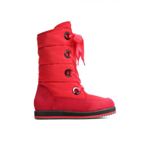 rote  damen winterstiefel aus nylon