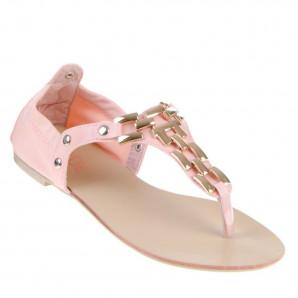 sandaletten mit kette pink