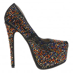 schwarze party high-heels mit strass