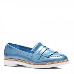 damen loafer blau weiße sohle