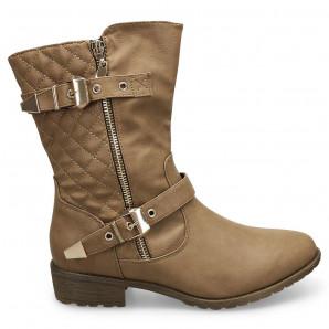 Schuhzoo - Damen Stiefeletten Halbschaft Khaki Neu Gr. 36 37 38 39 40 41