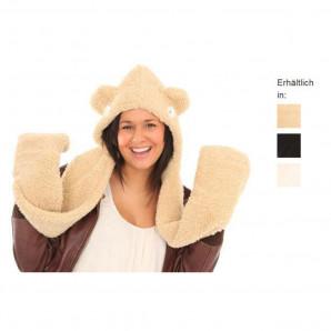 Jiglz - Damen Snood Perumütze Vlies Handschuhe Schal Beige Schwarz Elfenbein NEU One Size