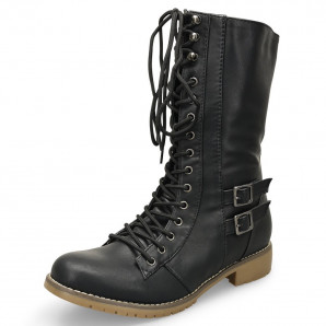 schwarze damen militär stiefel