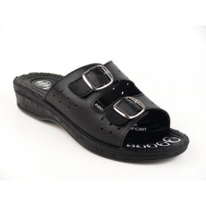 schwarze damen pantoffeln mit komfort fußbett