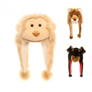 Jiglz - Kinder Plüschmütze Perumütze Vlies Tiere Hund Affe Löwe One Size