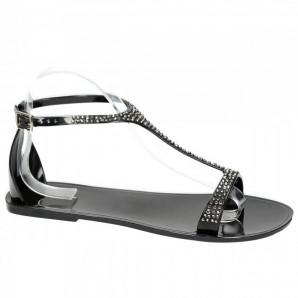 schwarze damen sandaletten mit strass besetzt