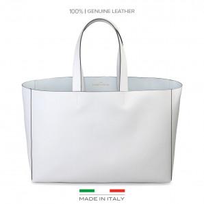shopper bag in weiß aus leder