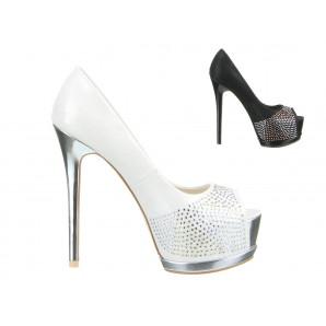 sexy party peep-toes in schwarz und weiß