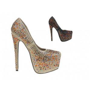 goldene und schwarze party high-heels mit strass