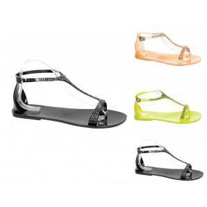 damen sandaletten mit strass und in 3 soolen farben