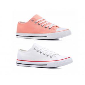 pinke und weiße canvas Sneaker für damen
