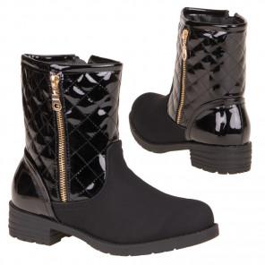Schuhzoo - Damen Stiefeletten Boots Lackoptik Gefüttert Schwarz Neu Größe 36 37 38 39 40 41