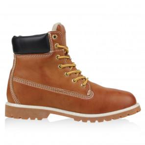 Cultz - Damen Premium Schnür-Boots Damenstiefel Camel NEU Gr 36 37 38 39 40 41