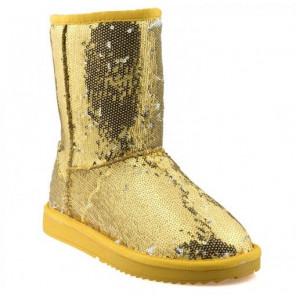 Schuhzoo - Damen Schlupf Stiefel Winterstiefel Winterboots Gold Pailletten NEU Größe. 36 37 38 39 40 41