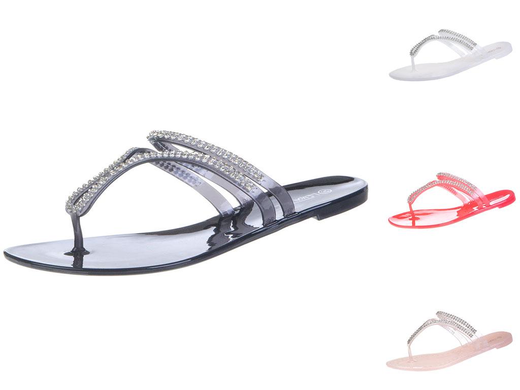 damen zehentrenner sandalen badeschuhe strass coral wei schwarz pink neu ebay. Black Bedroom Furniture Sets. Home Design Ideas